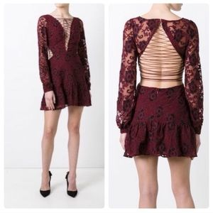 For Love and Lemons Maroon Jolene Lace up Dress L